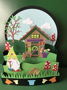 GNOME  THEMED WHIMSICAL  POP UP CARD - HANDMADE
