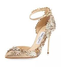 """JIMMY CHOO⚡️{$1,495} """"Lorelai"""" glitter flower ankle strap leather heels 39.5/9.5"""