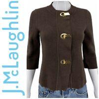 J. McLaughlin Sz XS Brown Knit Gold Toggle Cardigan Sweater Jacket