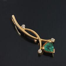 Emerald Gemstone Diamond Pave Pendant 14K Yellow Gold Handmade Gift Jewelry