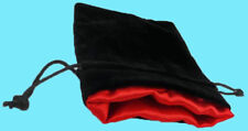 BLACK VELVET & LUXURY SATIN RED Lining DICE BAG LARGE 5x8 Silk Pouch Koplow rpg