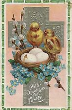 Silver Metallic Cross Chicks Around Eggs in Basket Blue Flowers Easter Postcard