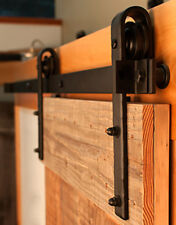 6.6 FT Black Country Style Sliding Barn Door Hardware Track Rail Kit w/ Rollers