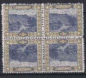 Saargebiet 1921 Kehrdruck 4er Block Michel Nr. 53 III oder 53 IV Postfrisch **