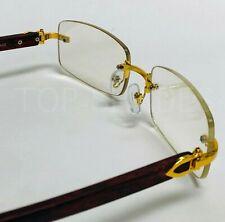 Men Classy Elegant Sophisticated Style Clear Lens Eye Glasses Gold Rimless Frame