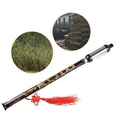 Chinese Ethnic Instrument Black Bamboo Detachable Bawu Pipe BaWu Flute Tune F