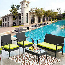 4PCS Patio Rattan Wicker Furniture Set Cushioned Chair Glass Table Garden Black