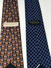 LOT OF 2 RENE CHAGAL Handmade Mens Ties Brown w/Patriotic Print & Blue Print