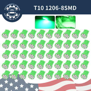 50X Green T10 168 192 194 Wedge 8SMD LED Instrument Panel Interior Light Bulbs