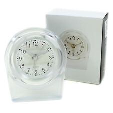 Reisewecker Weiß Transparent Quarz Uhr Wecker Analog Reisen Alarm Tischuhr Hotel
