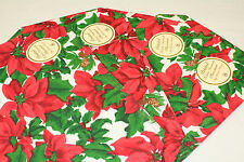 Poinsettia Holly Christmas Xmas Holiday Fabric Placemats SET OF FOUR(4)