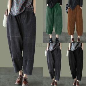 UK Women Corduroy High Waist Harem Crop Pants Solid Casual Loose Baggy Trousers
