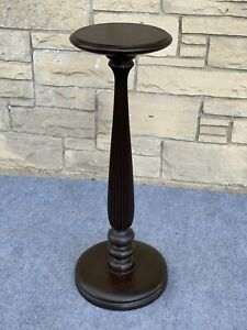 Antique Jacobean Mission Turned Mahogany Carved Pedestal Fern Plant Stand - 36""