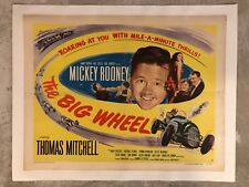 """1949 Mickey Rooney """"The Big Wheel"""" Movie Poster, Linen Mounted RARE Awesome L@@K"""
