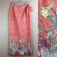 Tommy Bahama 100% silk floral maxi wrap skirt size M Tropical Vacation