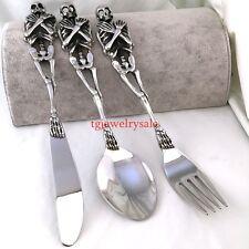 3pcs/Set Tableware Cutlery Design 316L Punk Silver Skull Fork +Spoon +Knife Set