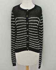 INHABIT Black Cardigan sweater white stripe sz L semi sheer cotton blend