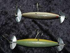 2 VINTAGE WOOD TORPEDO FISHING LURES  UNBRANDED   5 1/2 INCH