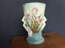 "Vintage chalk ware chalkware floral tulips blue red vase Farmhouse decor apx 7"""
