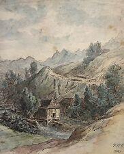 SÄGEWERK IN DEN ALPEN - BAYERN - F.W.G. 1840 DATIERT - ROMANTIK BIEDERMEIER