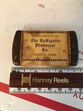 Antique LAFAYETTE INDIANA PHARMACY Match Safe Vesta Pocket Matches Holder Case