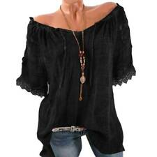 Plus Size Women Boho Tunic Tops Summer Short Sleeve Loose Fit T-Shirt Blouse Tee