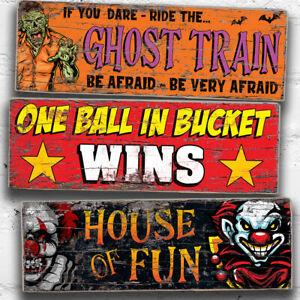 Ghost Train Fun Fair Sign Bundle Fairground 28cm Wood Signs Circus Retro Signs