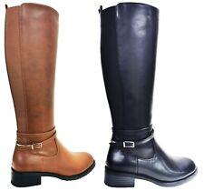 Knee High Boots Buckle Zip up Block Heel Elastic Stretch Calf Shoe Womens Ladies
