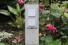 Steckdosensäule 4-fach Steckdosenstein Beton Gartensteckdose mit Erdspieß grau