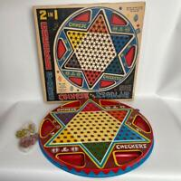 Vintage METAL OHIO ART 2 IN 1 CHINESE And REGULAR CHECKER GAME #538 Parts Only