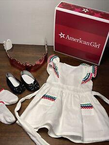 American Girl Doll Molly Birthday Party Pinafore Dress, Socks, Shoes, Box