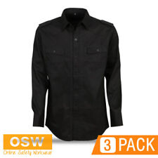 3 X MENS MODERN-FIT COTTON MILITARY STYLE HOSPITALITY BAR CAFE LONG SLEEVE SHIRT