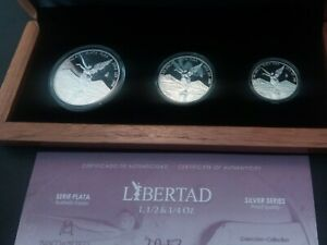 2013 silver libertad 3 coin proof set with original cert and box mintage 1000