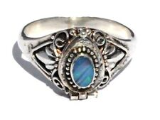 Bali 925 Sterling Silver Genuine Opal Doublet Hidden Compartment Poison Ring