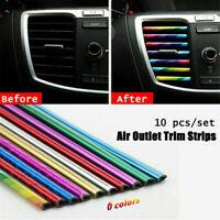 10 Pcs Car Air Conditioner Decoration Strip Accessory Colorful Air Outlet HS99