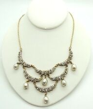 Vintage Miriam Haskell Pearls,Rhinestones Necklace.
