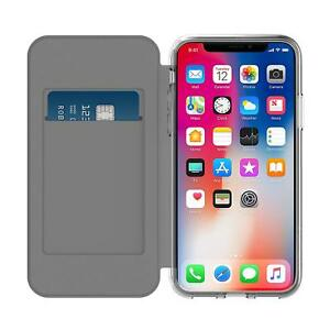 Incipio NGP Wallet Card Flip Folio Case Cover For iPhone XS & X Black Clear