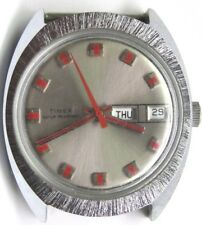 Vintage Gents TIMES Date/ Day RED 2nd Hand Stainless Steel Wrist Watch.