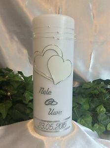 Hochzeitskerze 200/70mm Weiß/Silber sehr Edel Top Neu H0105