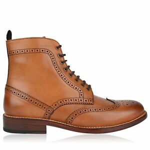 Full Circle Mens Brogue Boots Formal Shoes Lace Up Casual Polished