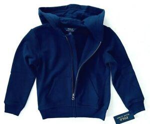 Polo Ralph Lauren Boys Size 5 L/S Cruise Navy Zip-Up Hooded Sweatshirt