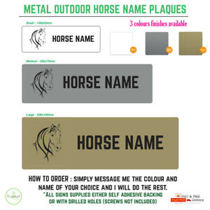 Outdoor Personalised Horse / Pony Stable Door Sign / Name Plate / plaque drilled