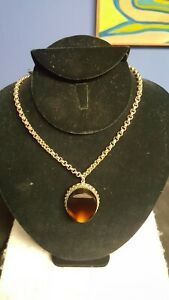 """Vintage Whiting and Davis GOLDTONE and tortise shell color necklace 21"""" inches"""