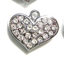 10 Glass AA Crystal Heart Rhinestone Silver Plated Charm/Pendant/Tag/beading K17