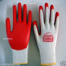 50 Pairs PREMIUM Red Latex Rubber coat Palm Coated Work Gloves HELLO MICKY BRAND