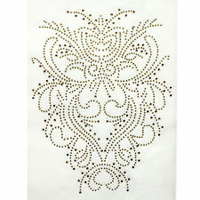 Rhinestone Iron On Transfer Hot fix Motif Decorative Gold Tattoo deco Fashion