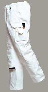New PORTWEST Mens Work Painters Protect Cotton Multi Pocket Trousers White S-XXL