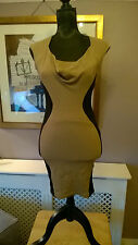 TFNC S/M Gold Beige Black Panel Stretch Cap Sleeve Balcony Bodycon Wiggle Dress