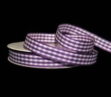 """5 Yard Spool Purple White Gingham Plaid Ribbon 3/8""""W"""