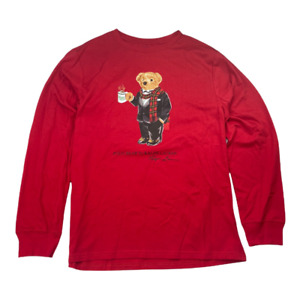Polo Ralph Lauren Boys Cocoa Bear Holiday T-Shirt Red Cotton Tee XL 18-20 New